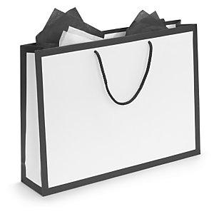 e742049da0d ... Black edge white matt laminated paper gift bags