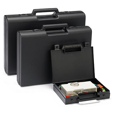 Black plastic cases with external handles