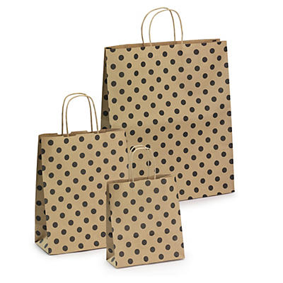 Black polka dot Kraft paper carrier bags