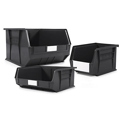 Black recycled louvred plastic storage bins