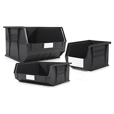 Black recycled louvred plastic storage bins