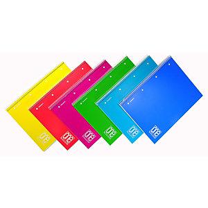 BLASETTI Maxi quaderno spiralato One Color A4+, 80 fogli a quadretti 5 mm, Copertina in PPL, Colori assortiti
