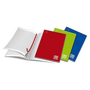 BLASETTI Quaderno Maxi One Color A4, 20 fogli a righe, Copertina in cartoncino, Colori assortiti (confezione 10 pezzi)