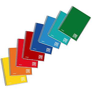 BLASETTI Quaderno spiralato One Color A5, 60 fogli a quadretti 5 mm, Copertina in PPL, Colori assortiti (confezione 5 pezzi)