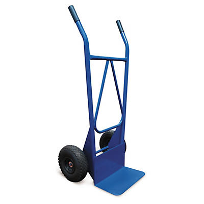 Diable roues gonflables##Blauer Stapelkarren mit feststehender Schaufel