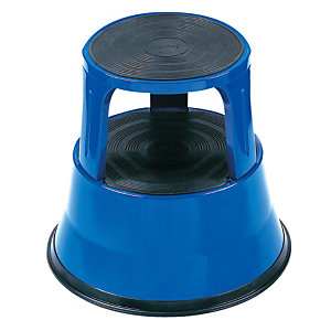 Blauwe metalen opstapkruk