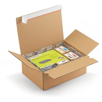 Caisse carton à fond automatique avec fermeture adhésive##Blitzboden-Aufrichtekarton mit Haftklebeverschluss