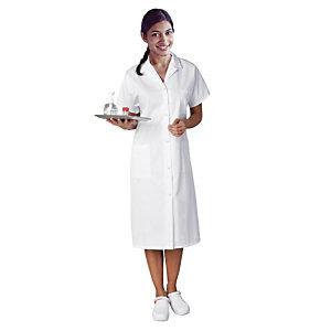 Blouse hospitalière blanche femme, manches courtes, en polycoton, taille 44/46