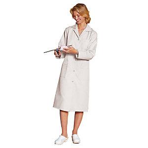 Blouse professionnelle blanche 100% coton manches longues, taille 44/46