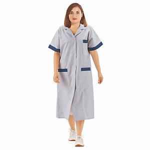 Blouse professionnelle femme bleu ciel et blanc en polycoton, manches courtes, taille 36/38
