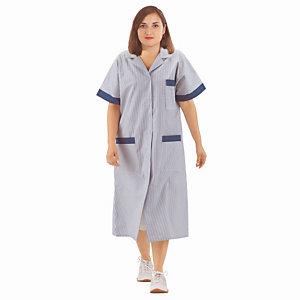 Blouse professionnelle femme bleu ciel et blanc en polycoton, manches courtes, taille 48/50