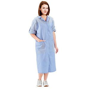 Blouse professionnelle femme bleu ciel, manches réglables, taille 40/42