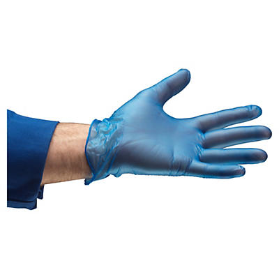Blue disposable vinyl gloves