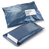Blue plastic mailing bags