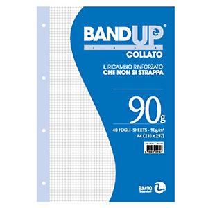 BM Blocco collato BandUp - fori rinforzati - A4 - quadretto 4mm - 40 fogli - 90gr - BM