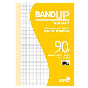 BM Blocco collato BandUp - fori rinforzati - A4 - quadretto 5mm - 40 fogli - 90gr - BM