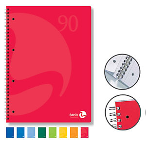 BM Quaderno Colors - A5 - quadretto 4mm - 60 fogli - 90gr - 4 fori microperforato - spiralato - BM
