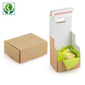 """Boîte carton brune avec fermetures adhésives """"aller-retour"""""""