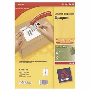 Boite de 600 étiquettes  laser opaques blanches L 7166 format 99,1 x 93,1 mm Avery