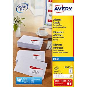 Boite de 640 étiquettes jet d'encre blanches J8162 format 99,1 x 33,9 mm Avery