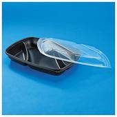 Boîte alimentaire plastique noire à compartiments
