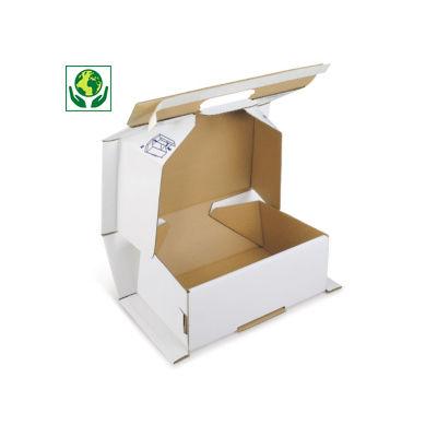 Boîte blanche antichoc avec fermeture adhésive sécurisée Raja##Schokwerende witte postdoos met zelfklevende sluiting Raja