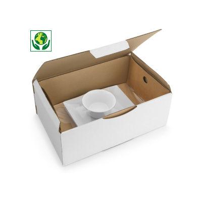 Boîte blanche avec calage film intégré##Witte postdoos met geïntegreerde fixeerfolie