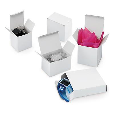 Boîte blanche en carton plat##Weisse Faltschachtel aus Vollpappe