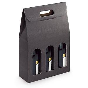 Boîte pour bouteilles à poignée effet Croco