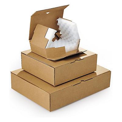 Boîte brune avec calage mousse RAJA##Noppenschaum-Verpackung RAJA, braun