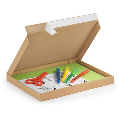 Boîte brune extra-plate avec fermeture adhésive, hauteur 25 mm##Versandkarton Flach-Pack mit Haftklebeverschluss, braun 25 mm