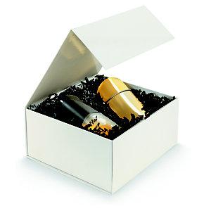 Boîte cadeau carton fermeture aimantée L.22,5 x l.22,5 x H.10,5 cm - Ivoire brillant