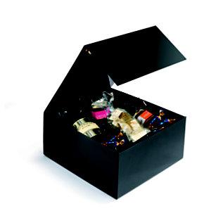 Boîte cadeau carton fermeture aimantée L.22,5 x l.22,5 x H.10,5 cm - Noir brillant