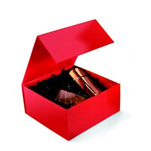 Boîte cadeau carton fermeture aimantée L.22,5 x l.22,5 x H.10,5 cm - Rouge brillant