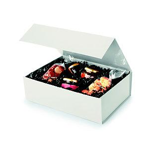 Boîte cadeau carton fermeture aimantée L.33 x l.23 x H.10 cm - Ivoire brillant