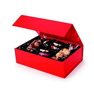Boîte cadeau carton fermeture aimantée L.33 x l.23 x H.10 cm - Rouge brillant