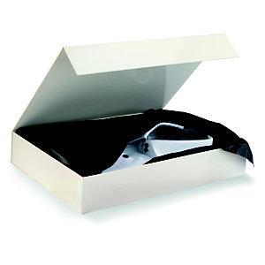 Boîte cadeau carton fermeture aimantée L.37,5 x l.26,5 x H.6,5 cm - Ivoire brillant