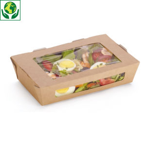 Boîte carton alimentaire avec fenêtre en amidon de maïs DUNI