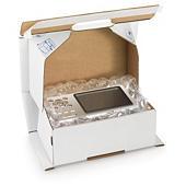 Boîte carton blanche antichoc avec fermeture adhésive sécurisée