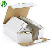 Boîte carton blanche avec calage mousse RAJAPACK Mousse
