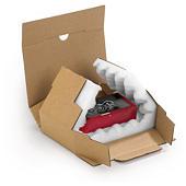 Boîte carton brune avec calage mousse Rajapack Mousse