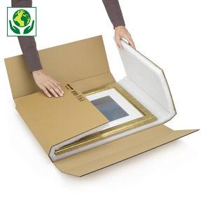Boîte carton brune avec calage mousse recyclée grand format RAJA