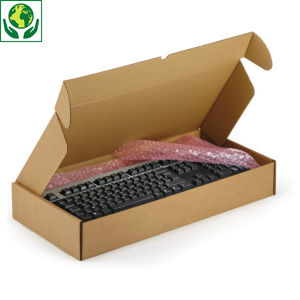 Boîte carton brune avec fermeture latérale