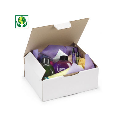 Boîte carton d'expédition simple cannelure blanche RAJAPOST
