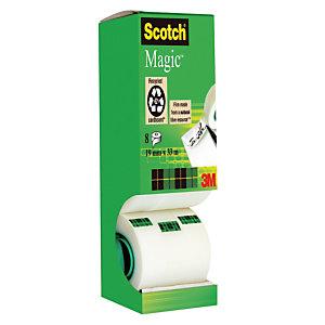 Boîte distributrice 8 rubans adhésifs Scotch Magic Invisible 19 mm x 33 m