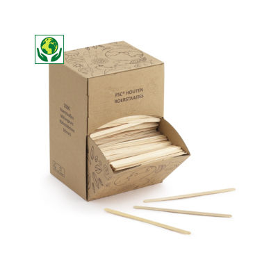 Boîte distributrice de touillettes en bois##Houten roerstokjes in dispenserdoos