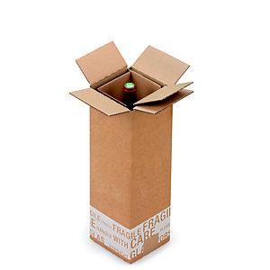 Boîte d'expédition pour 1 bouteille 75 cl en carton double cannelure brun - L.int. 12 x l.12 x H.38,5 cm
