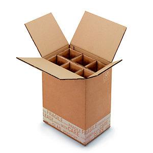 Boîte d'expédition pour 6 bouteilles 75 cl en carton double cannelure brun - L.int. 32 x l.22 x H.41 cm