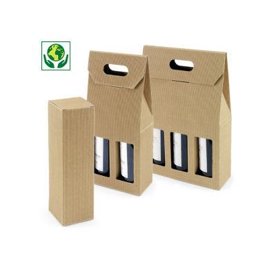 Boîte micro-cannelure pour bouteilles brune à poignée collection HEVEA