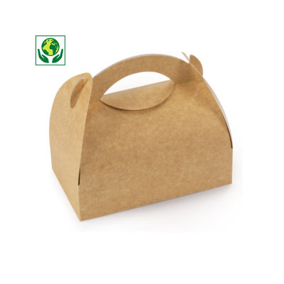 Boîte pâtissière kraft à poignée